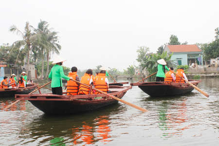 Haiphong, Vietnam, May, 1: tourists boating in the river on May, 1, 2014 in haiphong, Vietnam