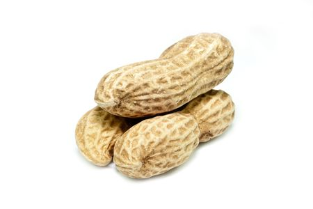 Three piece of peanuts stack together on top of each other