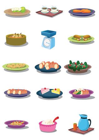 wijn en spijzen: Voedsel  Stock Illustratie