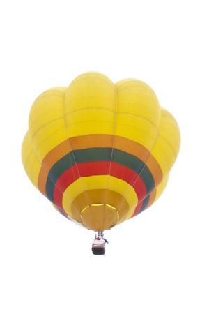 Colorful hot air balloons float in the air with isolated white background photo