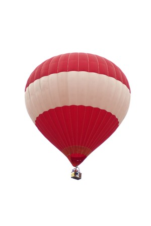Hot air balloons float in the air with isolated white background photo
