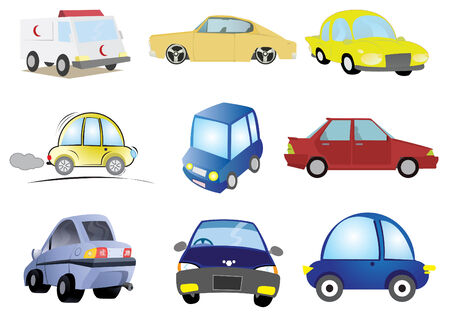 car side view: Assorted Car of Transportation Illustration