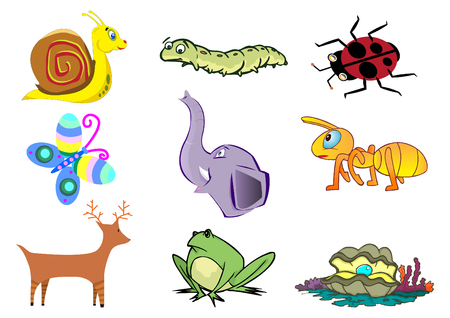 Assorted Cute Animal Concept for Children Illustration Vector