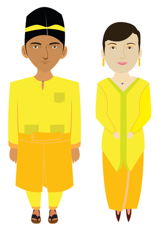 Malaysia Malaien Traditional Costume Illustration Vektorgrafik