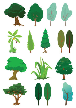 Assorted tree of nature illustration Stock Vector - 6992888