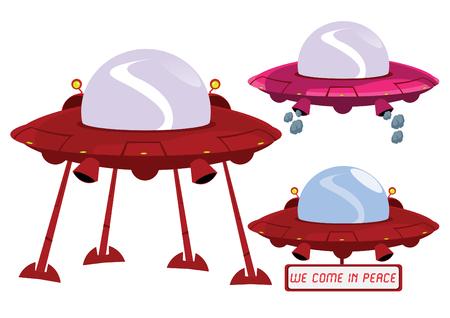 platillo volador: Nave espacial terrestre extraterrestre ilustraci�n de concepto  Vectores