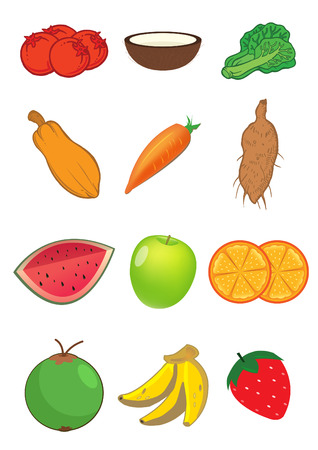 Assorted fruits and vegetables illustrations Vector