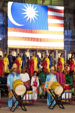 KUALA LUMPUR, MALAYSIA - MEI 21 : Participant singing the national anthem of Malaysia during the rehearsal of Colours of Malaysia Festival Mei 21, 2010 in Kuala Lumpur Malaysia.