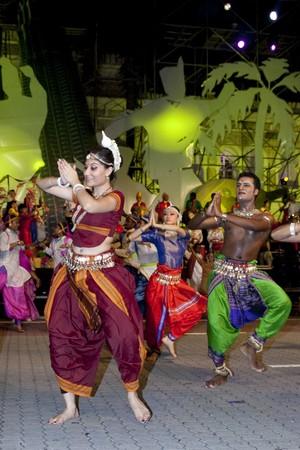 KUALA LUMPUR, MALAYSIA - MEI 21 : Participant performing a tradisional indian dance during the rehearsal of Colours of Malaysia Festival Mei 21, 2010 in Kuala Lumpur Malaysia. Editorial