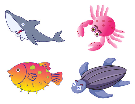 Assorted Cute Sea Creatures Stock Vector - 7049615