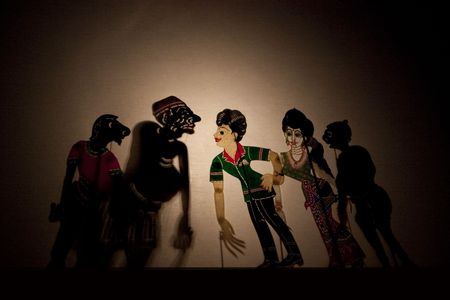 indonesia culture: A Tradtional Malaysian Shadow Puppet Show (Wayang Kulit) Stock Photo