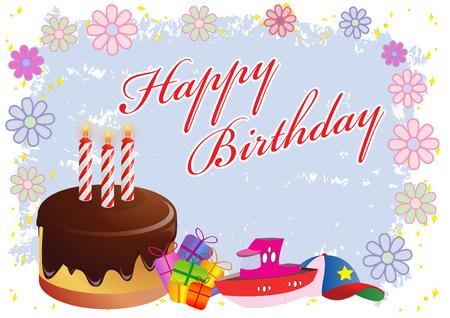 Happy Birthday Colorful Illustration   Illustration