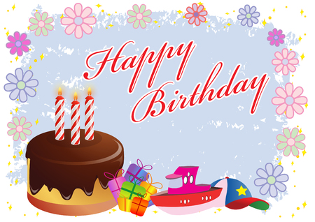Happy Birthday Colorful Illustration   Vector