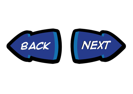 back button: Back and Next Navigation Button Illustration in Vector