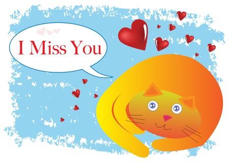Cat I Miss You Illustration