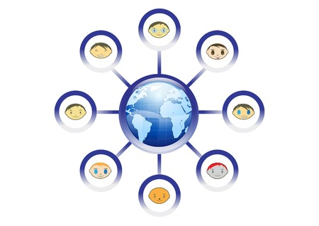 Global Friends Network Illustration  Vector