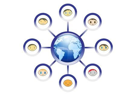 business meeting asian: Illustration de r�seau mondial amis