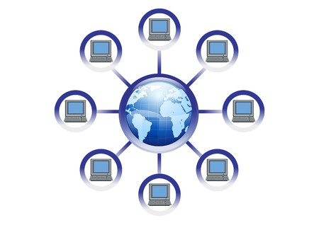 Global Online Computer Network Illustration  Vector