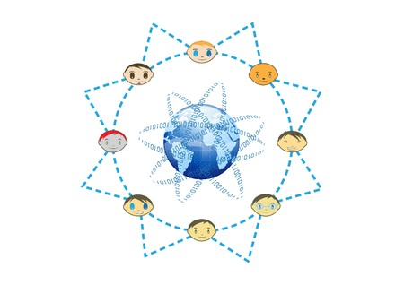Global Friends Network Sun Concept Illustration  Stock Vector - 7479971