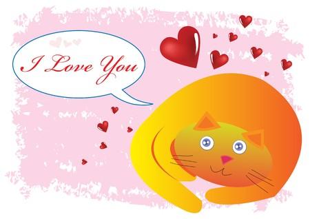 Cat I Love You Illustration Vector