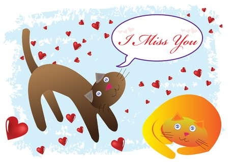 i miss you: Cat I Miss You Illustration