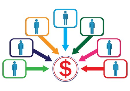 mujeres dinero: Ganancias de Contribute por masculino ilustraci�n de empleado