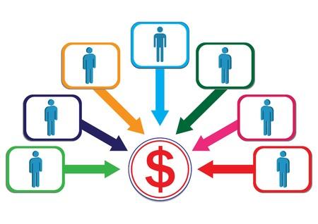 Profit Contribute by Male Employee Illustration Illustration