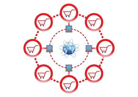 Online Shopping Network for Global Market Illustration  Vector