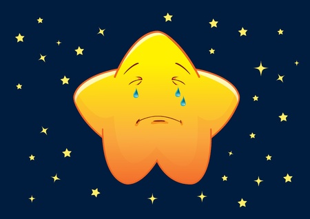 Crying  Star Cartoon Character Illustration in Vector Vector