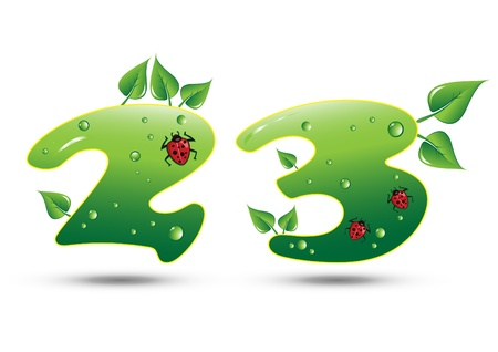 three leaves: Numbers Two and Three Green Nature Concept