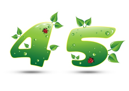 Numbers Four and Five Green Nature Concept Stock Vector - 9540063