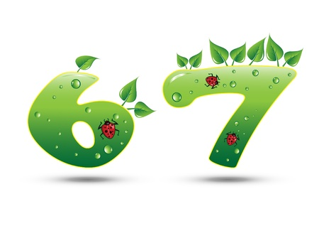 Numbers Six and Seven Green Nature Concept Stock Vector - 9540054