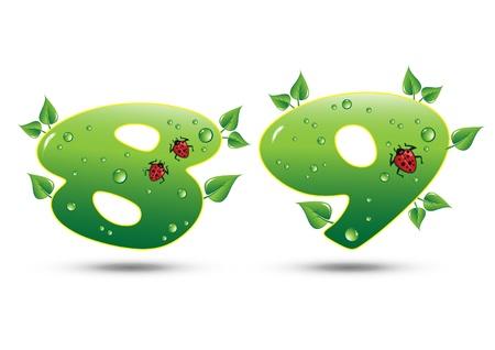 one sheet: Concetto di natura verde di otto e nove i numeri