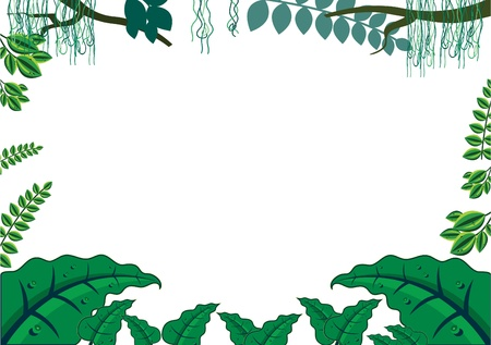 illustration zoo: Green Tropical Jungle Frame Concept