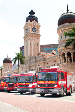 KUALA LUMPUR, MALAYSIA - MAY 7: Arrangements of fire truck in front of the Sultan Abdul Samad building during Fire Fighters Day celebrations at Dataran Merdeka on May 7, 2011 in Kuala Lumpur, Malaysia