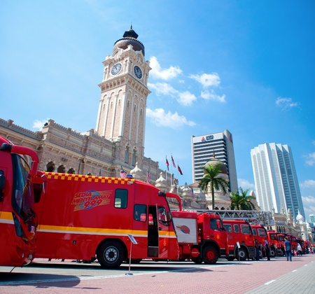KUALA LUMPUR, MALAYSIA - MAY 7: Arrangements of fire truck in front of the Sultan Abdul Samad building during Fire Fighters Day celebrations at Dataran Merdeka on May 7, 2011 in Kuala Lumpur, Malaysia.