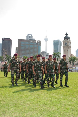 KUALA LUMPUR, MALAYSIA-MAR 5:The Malaysia Royal Ranger Regiment getting ready during the 78th Army Anniversary Celebrations Mar 5, 2011 in Kuala Lumpur, Malaysia. Estimated 1.9% of Malaysias GDP is spent on the military.