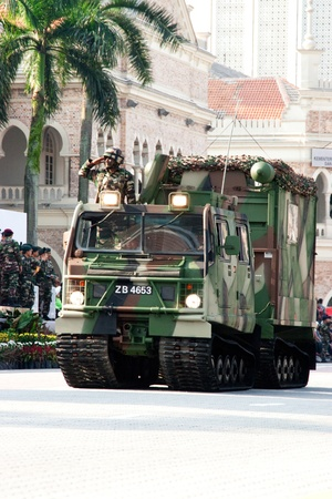 KUALA LUMPUR, MALAYSIA-MAR 5:Armoured vehicle Bandvagn 206 were showcase at the 78th Army Anniversary Celebrations on Mar 5, 2011 in Kuala Lumpur, Malaysia. Malaysia spends 1.9 percent of its GDP on military.