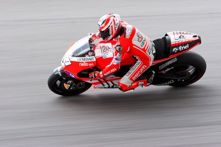 hayden: SEPANG, MALAYSIA-OCT 21: 2006 motoGP champion Nicky Hayden from Ducati Team during a free practice session on October 21, 2011 at Sepang, Malaysia. The Malaysian Grand Prix will take place on Oct 23.