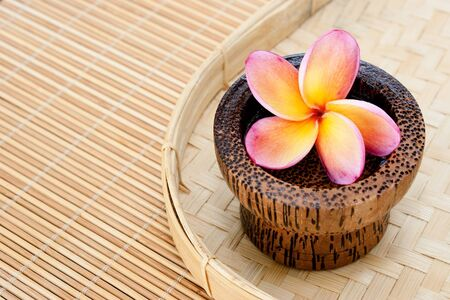 stone bowl: Tropical Plumeria in wooden bowl for spa and wellness concept Stock Photo