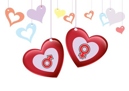 Love Happy Valentine with Gender Icon Background Illustration in Vector Stock Vector - 11977314
