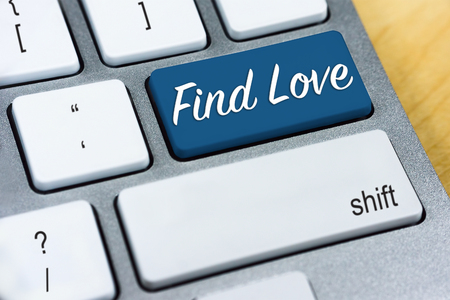 friendship day: Written word Find Love on blue keyboard button. Valentines Day and Love Concepts Stock Photo