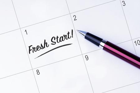 start fresh: The words Fresh Start on a calendar