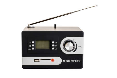 musik: Digital radio with antenna on white background and blank screen Stock Photo