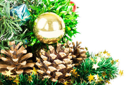 fir cones: Christmas tree with decorations isolated on white background and fir cones
