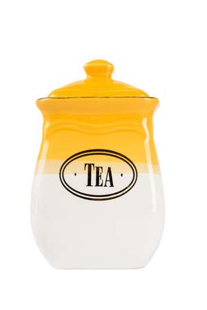 capacious: Ceramic jar of tea, isolated on white background