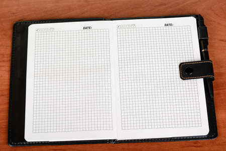 disclosed: Notebook with blank pages, disclosed and lying on the table, pen
