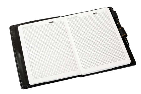scratchpad: Notebook with blank pages, disclosed and pen on a white background