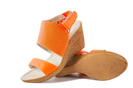 overt: Leather womens platform sandals with strap and fishnet. The orange color. Summer fashion shoes.