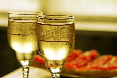 Champagne glasses  and  red caviar Stock Photo - 2251976